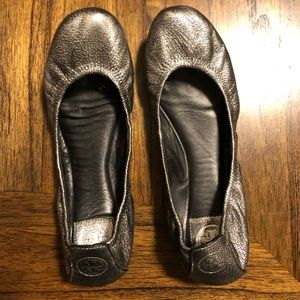 Silver/Pewter Tory Burch Flats